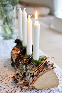 DIY Birch Taper holder for your Candle Impressions #flameless #tapers - add artificial or real moss to complete the look!
