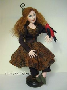 Pixie Tanager Textile Art Doll by Bethann Scott