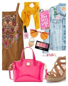 """""""hott bag contest"""" by elliewriter ❤ liked on Polyvore featuring Base Range, Jennifer Lopez, Dooney & Bourke, Gentle Monster, Blossom, Maybelline, OPI, Casetify and Too Faced Cosmetics"""