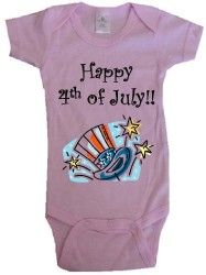 Happy 4th of July onesie. Comes in pink, blue and white.