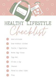 This contains: Healthy lifestyle check list : what you need... a good attitude, some workout clothes, fruits and veggies, water jug, yoga mat, 30 min a day, journal, timer and a plan - click for a plan Health And Fitness Tips, Fitness Goals, Health And Wellness, Fitness Motivation, Fitness Blogs, Health Tips, 7 Day Workout Plan, Step Workout, Workout Guide