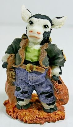 "1995 Ganz Cowtown ""Francowstein"" Cow Figurine Frankenstein Halloween Costume NEW"