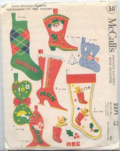 Vintage 1958 McCall's Felt Christmas Stocking Pattern