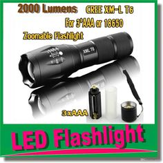 E17 CREE XM-L T6 2000 Lumens cree led Torch Zoomable cree LED Flashlight Torch light For 3xAAA or 1x18650 Hunting Flash Light OM-CI5