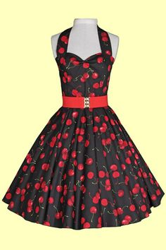 1950s Circle Dress - Black with Red Cherries Dress £