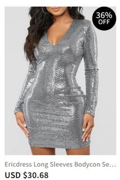 f647c1e643 Long Sleeves Bodycon Sequins Women s Dress Item Code  13467618  Silhouette Bodycon christmas dresses