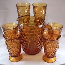 Indiana Glass Amber Whitehall water set pitcher 6 tumblers / glasses