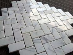 Premium Italian Carrara Herringbone Marble Mosaic Tile $12.45SF from www.thebuilderdepot.com- straight pattern bottom and herrinbone pattern top