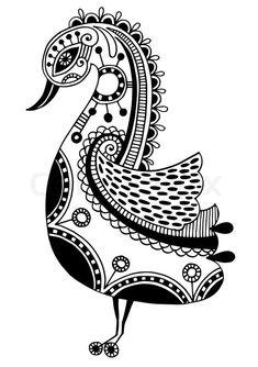 11414283-ink-drawing-of-tribal-ornamental-bird-ethnic-pattern-black-and-white-vector-illustration.jpg (564×800)