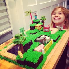 Minecraft cake   Red and blue sugar for the water and lava.  Kit Kats and rice crispies for the trees. Minecraft sold at Target, and this cake makes for a very happy 9 year old girl/boy.