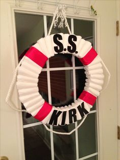 Diaper life preserver wreath for my sister's nautical baby shower :)