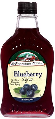 Blueberry Fruit Flavored Syrup has delighted blueberry lovers and gourmet cooks for generations. maplegrove.com #blueberry #syrup #maplegrovefarms