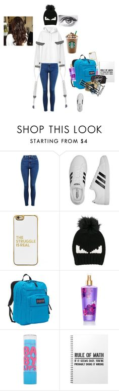 """Broken"" by yesiamanerd ❤ liked on Polyvore featuring Topshop, adidas, BaubleBar, Fendi, JanSport, Maybelline, Forever 21 and BOBBY"