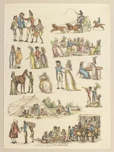 13 Vignettes. Army recruiting; carriage-driving; walking; tea party; sowing; playing harpiscord; picnic in a marquee by the river; bird-watching; travelling; street vendors; etc.Thomas Rowlandson, 1790| Royal Collection Trust
