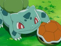 Ash's Bulbasaur trying to calm down a scared Squirtle after being alone and lost in the woods. Bulbasaur refused to make Squirtle go to his Pokeball until it feels safe and comfortable.