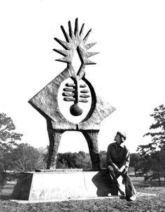 "Hannah Holliday Stewart with ""Atropos Key"" in Hermann Park. Click the image to learn about the fierce female sculptor. Photo credit: Houston Chronicle #art #artist #artworld #arthistory #artnews #atroposkey #hermannpark #houston #texas #houstontx #houstonchronicle #texasartists #texanartists #sculpture #sculptor #publicart #monumental #womenartists #artgallery #artblog"