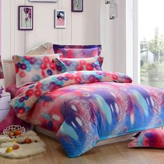 Blue Red and Pink Colorful Cute Polka Dot Print Design Fashion Rainbow Color 100% Brushed Cotton Full, Queen Size Bedding Sets
