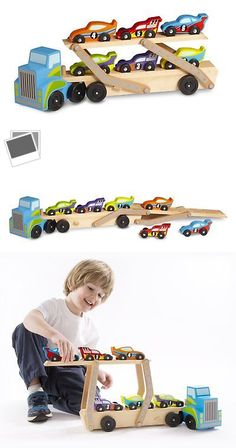 Wooden and Handcrafted Toys 1197: Melissa Doug Mega Race Car Carrier Wooden Play Vehicle Motor Skill Kid Toy Game -> BUY IT NOW ONLY: $33.58 on eBay!