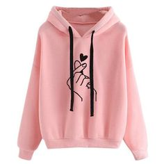 Women's Sweatshirts and Hoodies 2018 Pink Love Print Spring Autumn Pul – wwetoro