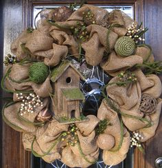 BURLAP WREATH with BIRDHOUSE by decoglitz on Etsy  (Not mesh.  But thought this would be where I need to see it) ♥