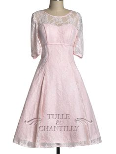 Blush Pink Elegant Illusion Lace Overlay Long Sleeves Bridesmaid Dresses $185.00 tulleandchantilly dot com
