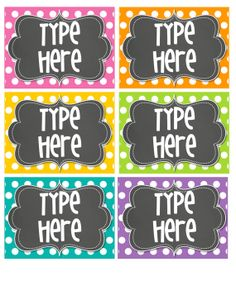 Instant Download Editable BRIGHT Polka Dot Label/ Tag with Chalkboard