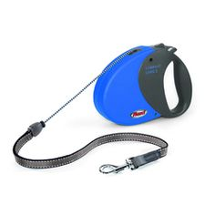 Make a bold style statement with this simple, classic marine blue retractable lead from Flexi. Made in Germany, Flexi leads feature top-quality engineering and internal mechanisms, and this lead has both 'brake' and 'stop' functions for maximum flexibility and control when out on walks with your canine companion. This lead has a tough, hard-wearing red outer casing with an attractive matt finish, and a chunky, black soft-grip handle that offers dog owners exceptional comfort. With great…