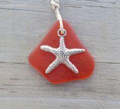 Fire Orange Sea Glass Necklace Starfish Charm by WaveofLife, $16.00