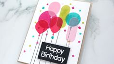 Pigment Ink & Vellum Birthday Card – kwernerdesign blog. What a fantastic idea to create realistic balloons! This card uses the new Balloon stamps and dies from Paper Smooches.