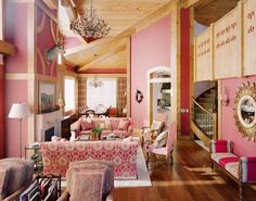 Pink living room in the mountains by designer Cindy Bardes Galvin