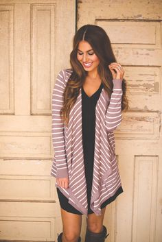 Dottie Couture Boutique - Striped Cardi- Mocha/White, $39.00 (http://www.dottiecouture.com/striped-cardi-mocha-white/)