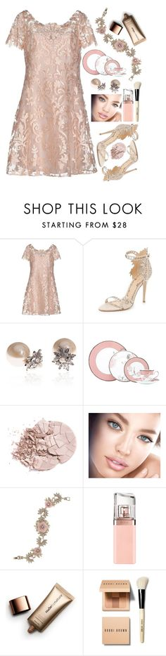 """""""Dresses"""" by grinevagh ❤ liked on Polyvore featuring Notte by Marchesa, Marchesa, Lenox, Maybelline, HUGO, Nude by Nature and Bobbi Brown Cosmetics"""