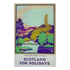 Scotland for the Holidays Vintage Travel Poster