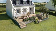 Une Terrasse Sur Terrain En Pente Realise En Bois Amenagement Jardin En Pente Terrain En Pente Terrasse Terrain En Pente