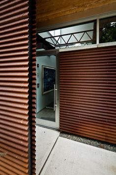 entry Symbol New York Studio Before/After - Industrial - Exterior - New York - Symbol Audio Industrial Chic Style, Warm Industrial, Industrial Interiors, Rustic Chic, New York Studio, Audio, Interior Decorating Styles, Corrugated Metal, Exterior Siding