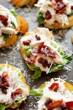 Looking for a crowd-pleasing party appetizer? Look no further than these chicken Caesar crostini bites! #recipes #healthyrecipes #appetizer #healthyliving #partyrecipes