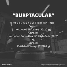 Reps For Time: Burpees; Kettlebell Thrusters kg); Kettlebell Sumo Deadlift High-Pulls kg); Kettlebell Swings kg) Kettlebell Training, Kettlebell Challenge, Kettlebell Cardio, Cardio Training, Kettlebell Benefits, Kettlebell Swings, Cardio Yoga, Tabata, Fitness Workouts
