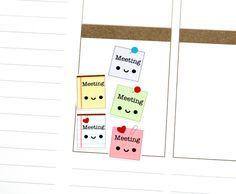 Happy Meeting Reminder Tracker Cute Kawaii Planner Stickers