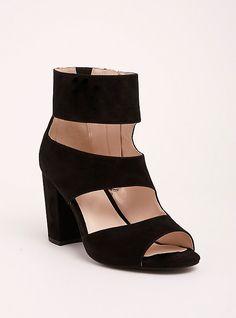 94183d2e49e Plus Size Faux Suede Cutout Peep Toe Heels (Wide Width)