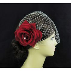 Birdcage veil with Red Rose flower bridal fascinator,Swarovski... ❤ liked on Polyvore featuring accessories, hair accessories, red rose hair accessories, bridal fascinator, red flower hair accessories, red hat fascinators and bridal hair fascinators