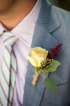 yellow rose boutonniere http://www.weddingchicks.com/2013/10/15/brooklyn-garden-wedding/