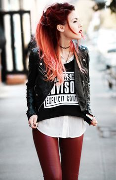 Just the red leather leggings yaw