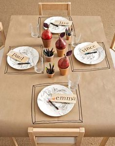 "Kid-Friendly Kraft Paper Tablecloth: butcher paper, table, markers. that's it! let them decorate it while they eat. especially a great idea for holidays! Saw this idea on ""Pantry Raid"" on Netflix!"