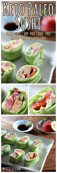 My PCOS Kitchen - Keto Paleo Sushi - Never eat sushi made with rice again when you have delicious cucumber wrapped sushi! via @mypcoskitchen