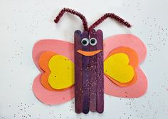 Popsicle Stick Butterfly Craft for Kids - easy crafts - butterfly crafts - how to make a butterfly crafts popsicle stick Popsicle Stick Butterfly Craft for Kids Popsicle Stick Catapult, Popsicle Stick Crafts For Kids, Popsicle Sticks, Craft Stick Crafts, Easy Preschool Crafts, Cute Kids Crafts, Easy Diy Crafts, Diy Craft Projects, Craft Kids