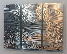 $215 All Natural Etched Silver Modern Metal Wall Accent Painting - Abstract Contemporary Hand-Made Home Office Wall Decor Sculpture Art - Liquid Sunshine by Jon Allen Jon Allen Metal Art - Statements2000 http://www.amazon.com/dp/B00DFQOI4A/ref=cm_sw_r_pi_dp_n6favb16DHEMV