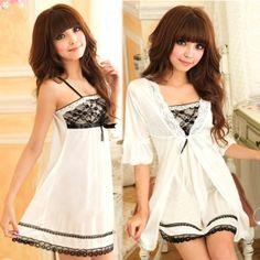 Sexy Women Twinset Lace Pajama Strap Sleep Night Dress Nightwear Sleepwear Set