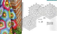 Häkeldecke in Frühlingsfarben Granny Hexagons Scrap Yarn Crochet, Plaid Crochet, Crochet Motifs, Crochet Blocks, Crochet Chart, Crochet Stitches, Crochet Square Blanket, Crochet Squares, Granny Squares