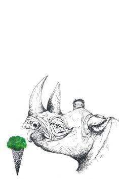 """vegan rhino"" auf RIDING RHINO - Veganism. Cyclism. Minimalism.  #Nashorn #rhino #Illustration #Zeichnung #AnimalArt #Eistüte Illustration, Moose Art, Vegan, Friends, Tattoos, Painting, Animals, Some Amazing Facts, Rhinoceros"