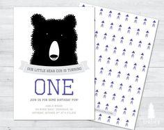 bear birthday invitation bear invitation bear by SpruceAndWillow